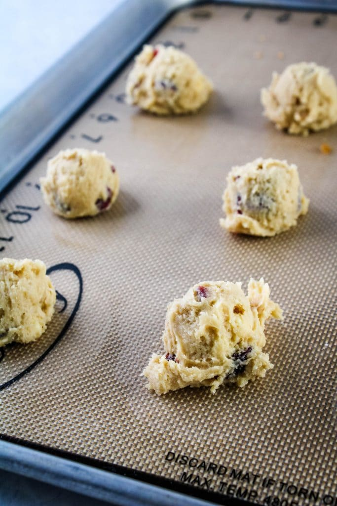white chocolate craberry cookies dough balls