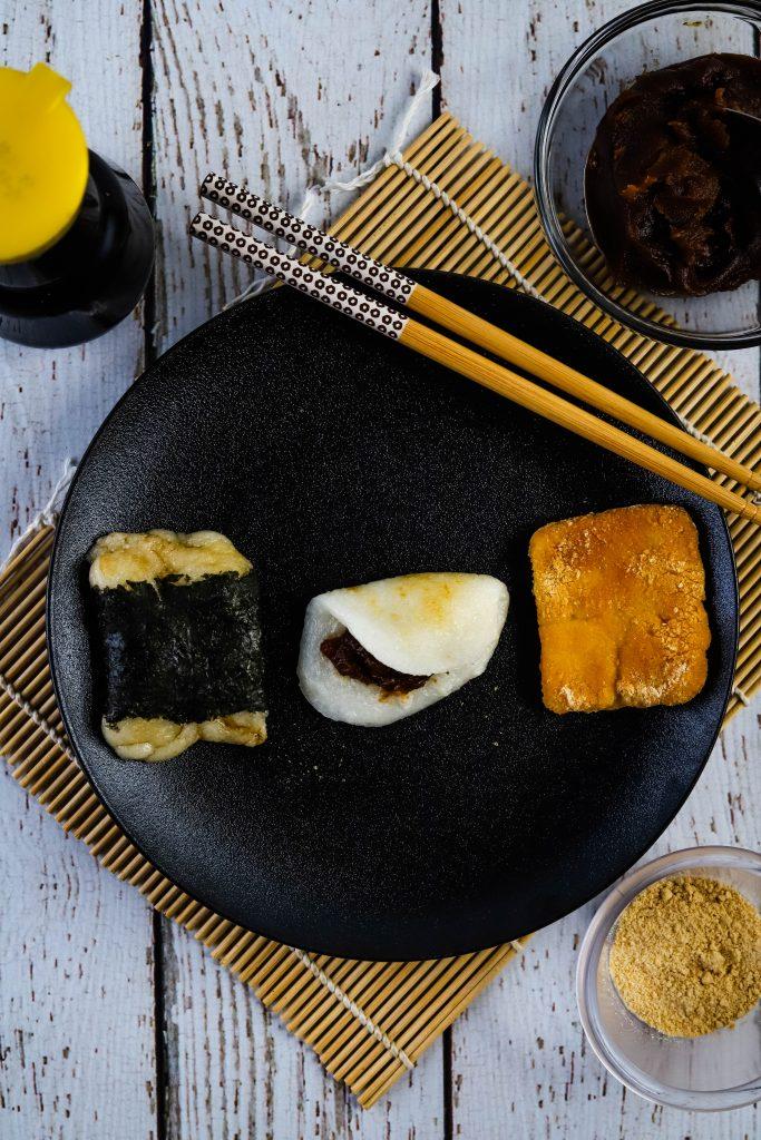 3 types of kiri mochi on a black plate