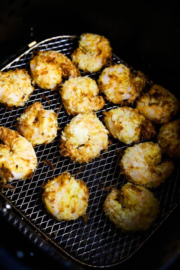 coconut shrimp in the air fryer basket