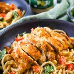 close up chicken alfrdo pasta