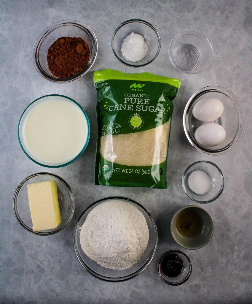 red velvet mochi brownies ingredients
