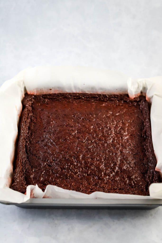red velvet mochi brownies in a pan