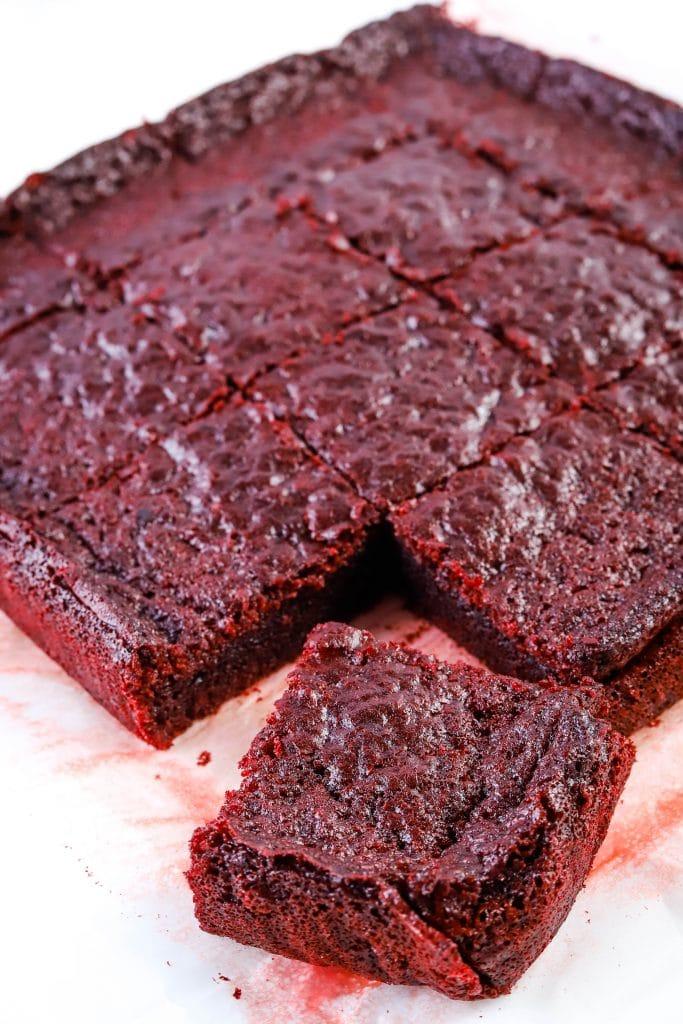 red velvet mochi brownies cut piece