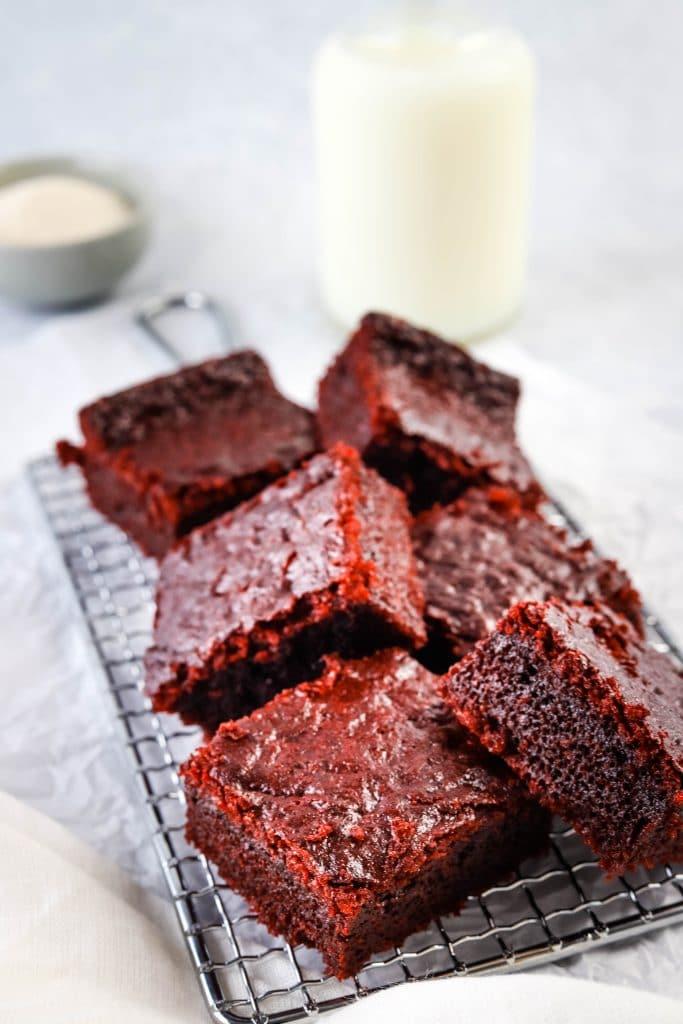 red velvet mochi brownies on a safety grater