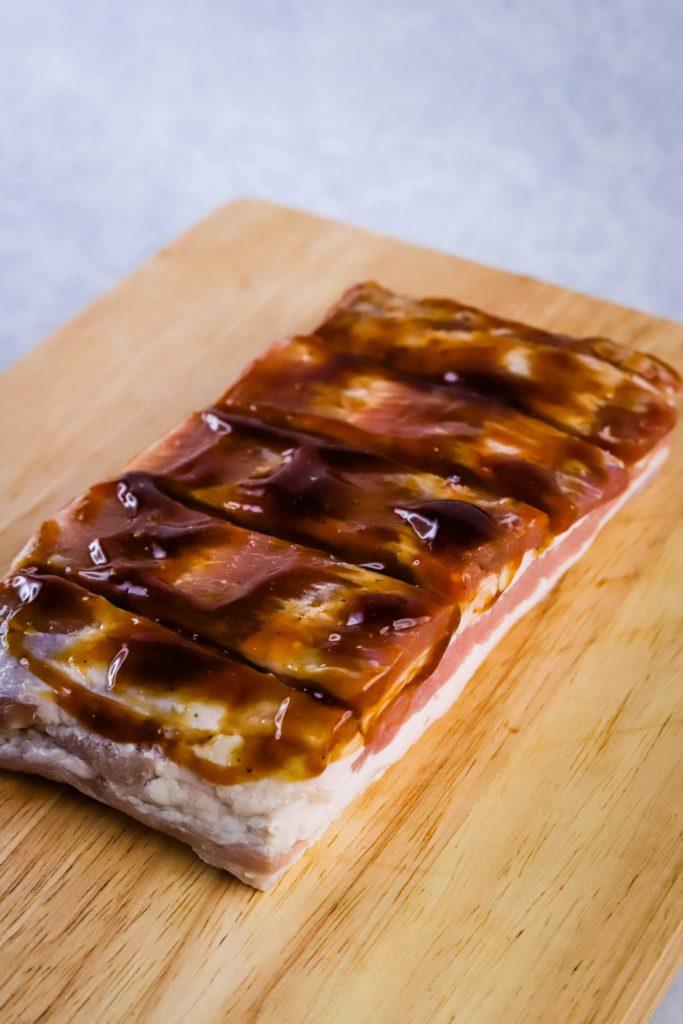 crispy pork belly with sauce