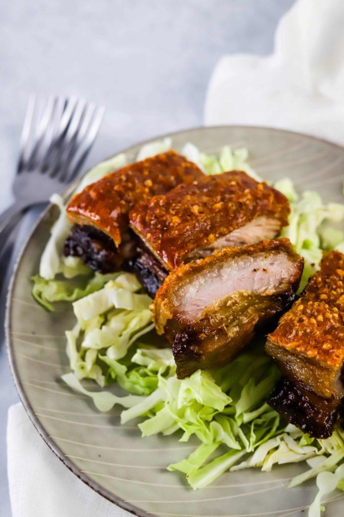 crispy pork belly close up