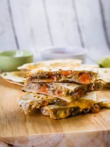 stack of pulled pork quesdillas