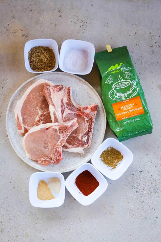 coffee rub grilled pork chops ingredients