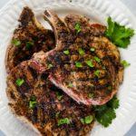 plate of coffee rub grilled pork chops