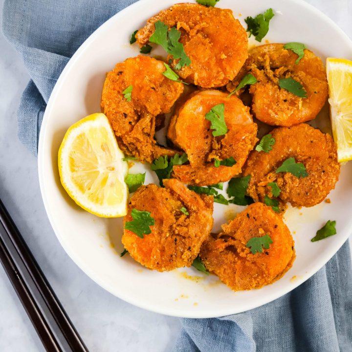 plate of Hawaiian garlic shrimp