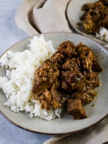 instant pot pork adobo with rice on a plate