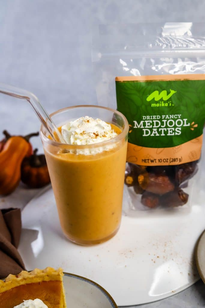 pumpkin pie smoothie with whipped cream